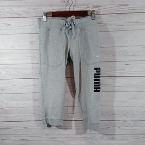 Puma joggers cropped gray drawstring waist